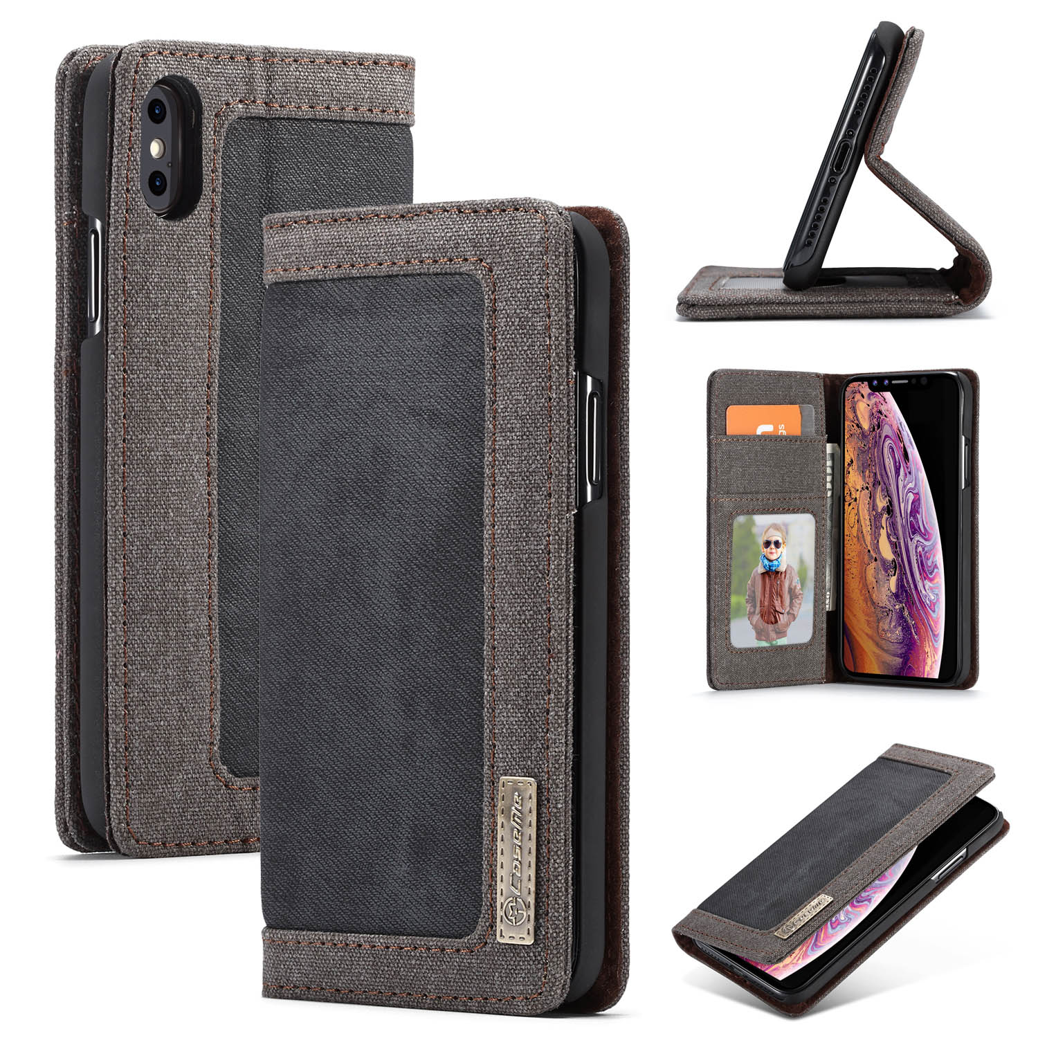 on sale d03c4 5e937 CaseMe iPhone Xs Max Canvas Wallet Kickstand Magnetic Flip Case