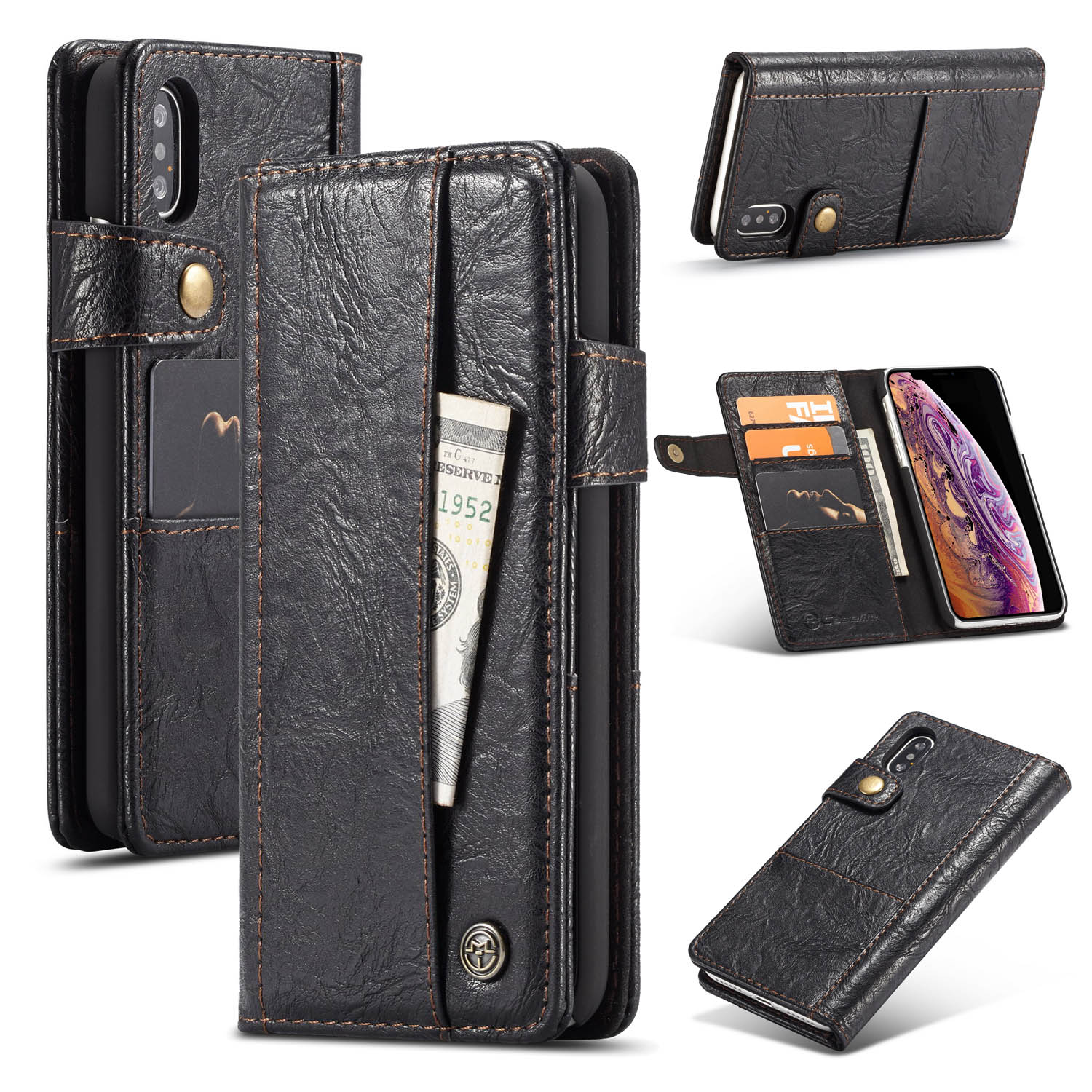 info for cd1d0 817cf CaseMe iPhone Xs Max Vintage Style PU Leather Wallet Card Slots Case