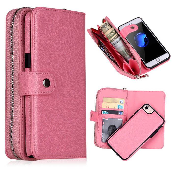new product c5800 89a5b BRG iPhone 7/8 Litchi Texture Zipper Wallet Magnetic Case Detachable 2 in 1  Cover With Wrist Band