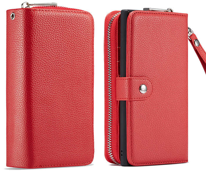 Samsung Galaxy Note 10 Case Official Litchi Pattern Wallet Flip Case Shockproof PU Leather Card Slots Stand Magnetic Folio Silicone Bumper Gel Protective Phone Cover for Samsung Galaxy Note 10 Red